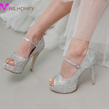 Silver Glitter Wedding Shoes High Quality Customized Peep Toe Women High Heels Homecoming Party Prom Shoes Stilettos 4 Inch Heel