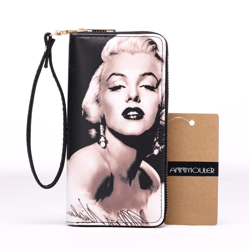 Brand Women Wallet Pu Leather Long Purse High Quality Coin Purse Card Holder 3D Marilyn Monroe Printed Clutch Handbag Wrist Bag 2017 brand new cute bowknot purse handbag for women pu leather fashionable wallet zipper high quality free shipping p375