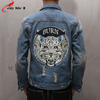 Cowboy coat hole denim jacket casual male 2016 autumn spring new mens jeans tiger head on.jpg 200x200