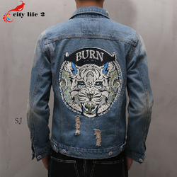 Cowboy coat hole denim jacket casual male 2016 autumn spring new mens jeans tiger head on.jpg 250x250