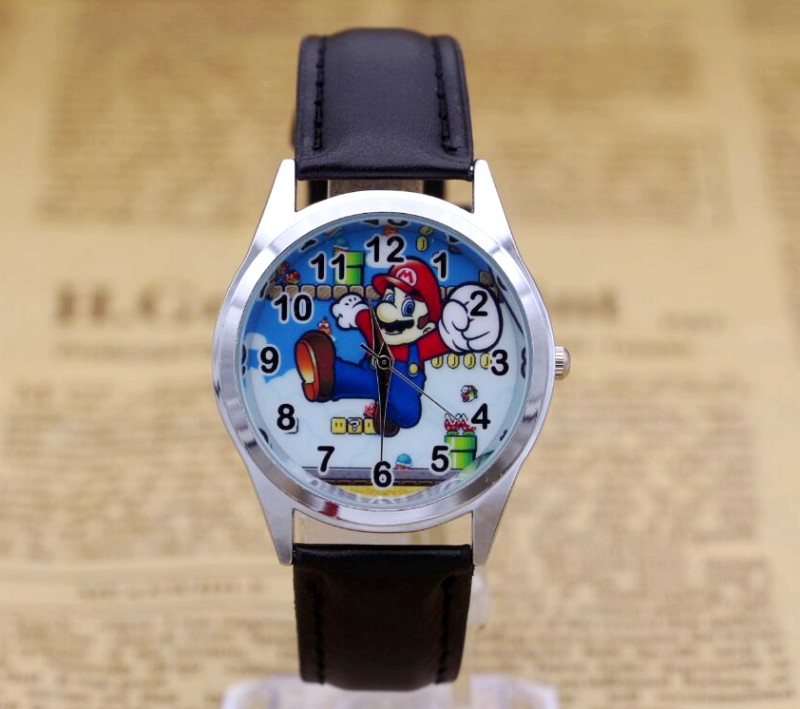 2017 Hot Sale Mario BOYS Cartoon Watch Fashion Lovely Girl Children Watches PU Strap Quartz Wristwatch Kids Dress Clock