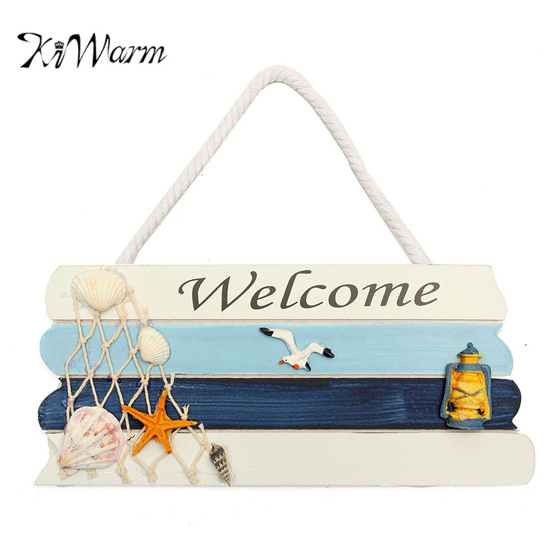 KiWarm Welcome Wooden Sign Beach Ocean Nautical Seaside Theme for Home Bar Shop Door Plaque Hanging Decorations Crafts Gift