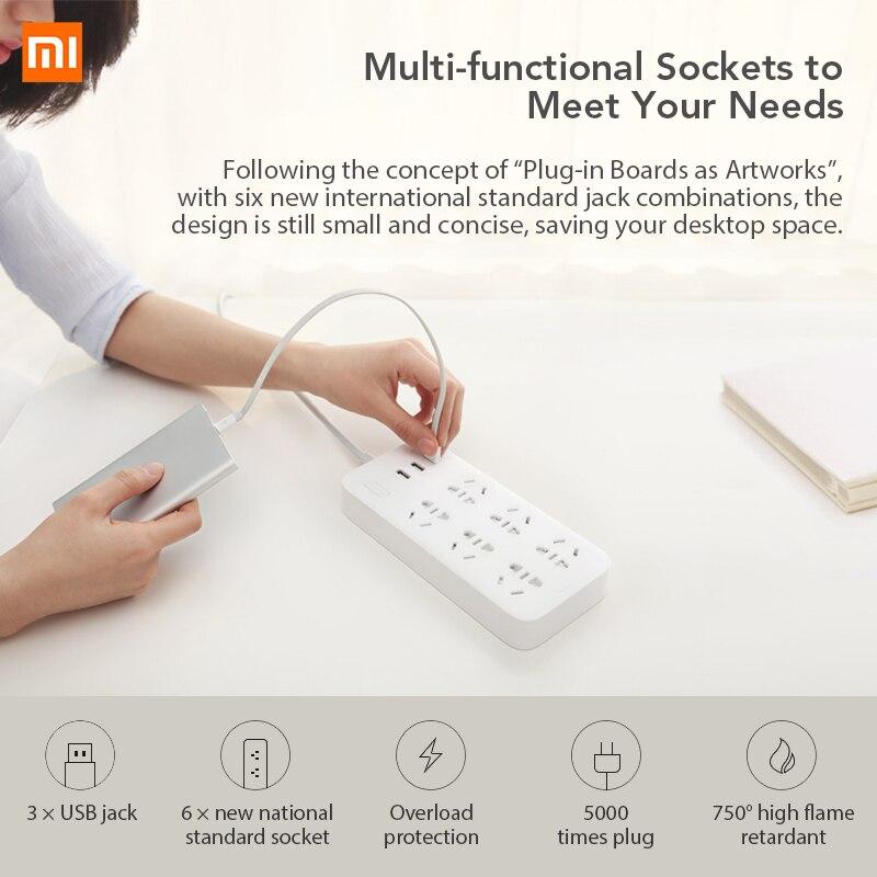 Image 3 - Oryginalna listwa zasilająca Xiaomi Mijia wersja podstawowa 6 gniazd z 3 5V 2.1A szybkie ładowanie portów USB biały Mi gniazdo jednolity kolorWtyczka z gniazdemElektronika użytkowa -