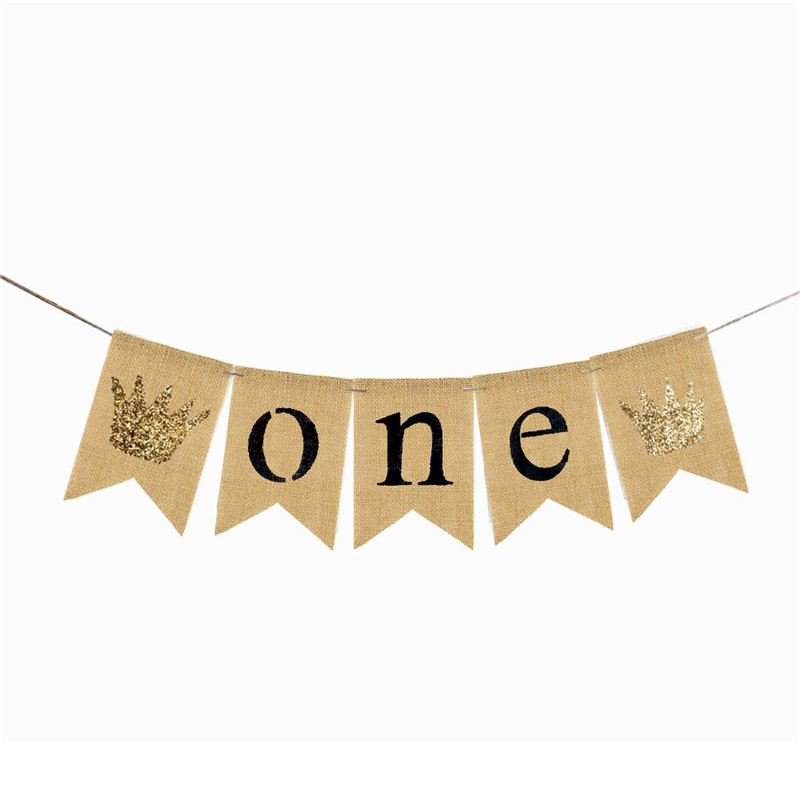 MEIDDING-1set First Birthday Banner ONE Crown Banner High Chair Banner for Birthday Sign Garland Party Wall Hanging Decor
