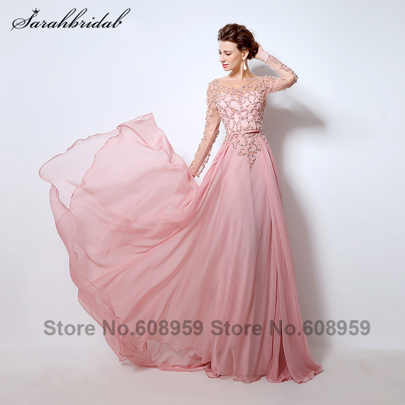 Sexy Sheer Long Sleeve Prom Dresses Dubai Rode De Soiree Pink See Through Pearls Sequins Chiffon Evening Gowns LSX051