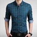 Топы новые люди весной рубашки полный рукав тонкий однобортный плед классические рубашки мужской бизнес-рубашки большой размер одежды