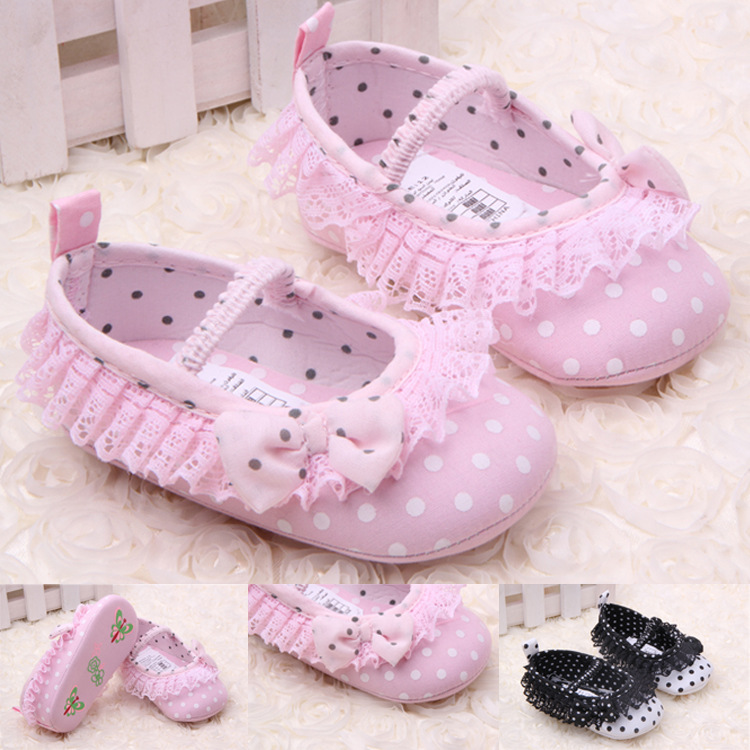 Super Quality 1pair Dot flower Baby First Walkers Girl Shoes toddler/Infant/Newborn shoes, antislip Baby footwear