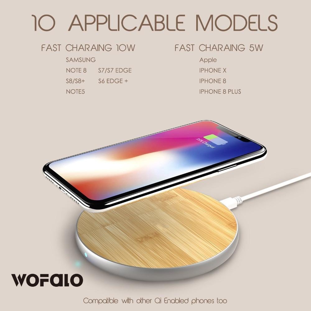 Cargador inalámbrico rápido, wofalo 10 W bambú Qi cojín de carga inalámbrico con mate de aluminio universal más nuevo modelo para iPhone 8/8 PLU