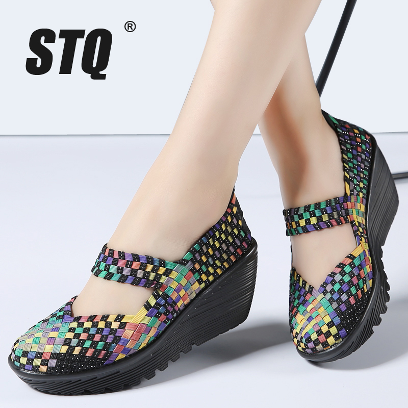 STQ Platform Sandals Woven-Shoes Wedge Middle-Heels Flat Ladies 889