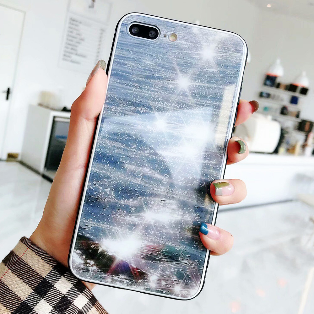 KIP7P1343A_1_JONSNOW Phone Case for iPhone 7 Plus 8 6 6S X XR XS Max Tempered Glass Back Cover Anti-slip Soft Edge All-inclusive Protect Case