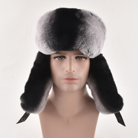Russian Fur cap Warm autumn winter cap with natural Real rex rabbit fur and leather luxury men bomber hat