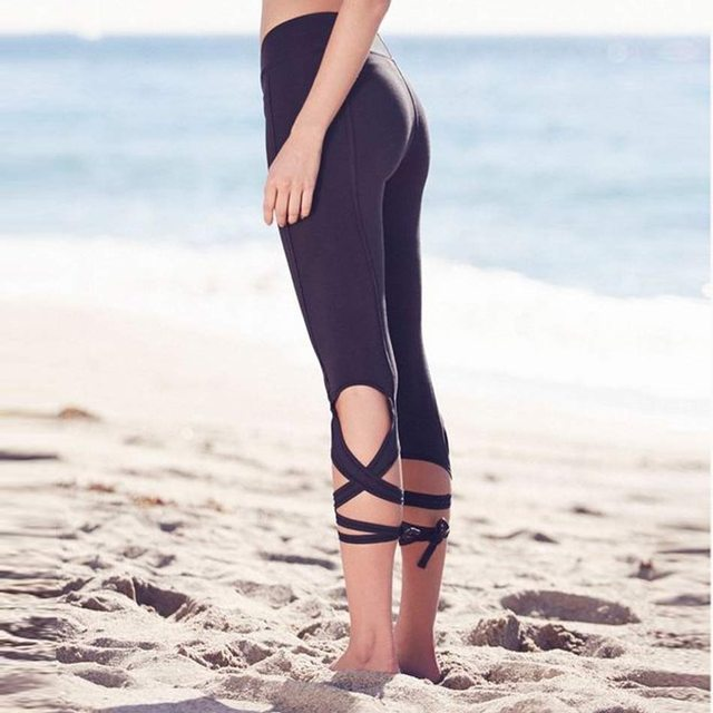1fb3b3de36ef0 Yoga pants Women Bandage Yoga Leggings Capri Pants Leggins Sport Women  Running Tights Women Calzas Deportivas Mujer Fitness