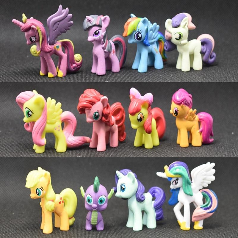 12pcs Pony Figure Cute Mini Model Doll Ornaments Toys For Children Hobbies Action Toy Figures
