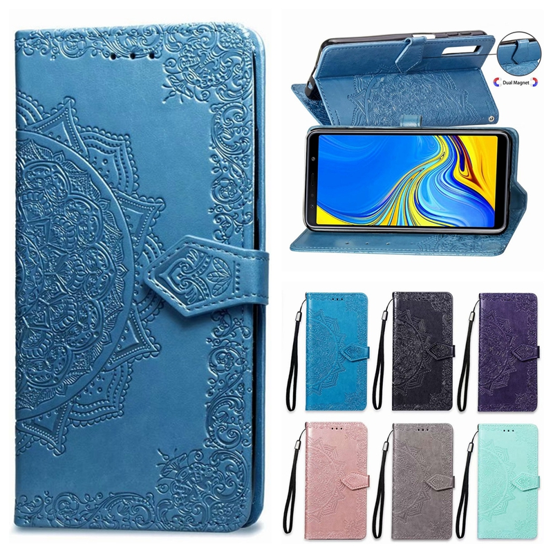 A7 2018 Case on for Samsung Galaxy A7 2018 Case Flip Leather 3D Mandala Flower Case For Samsung A7 2018 A750 Case Cover Coque