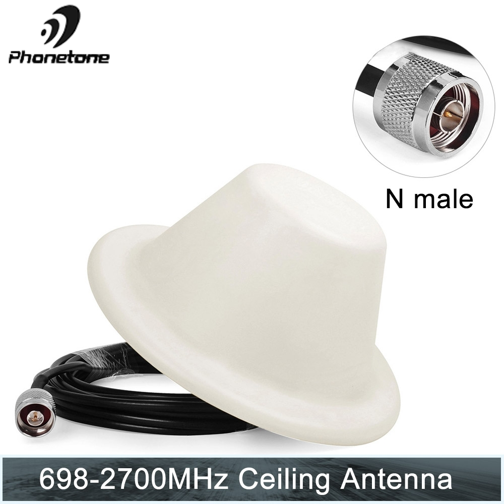 4G LTE 698-2700MHz 5dBi Indoor Ceiling Antenna Omni-directional N Male Connector With 5m Cable For Cell Phone Signal GSM Booster