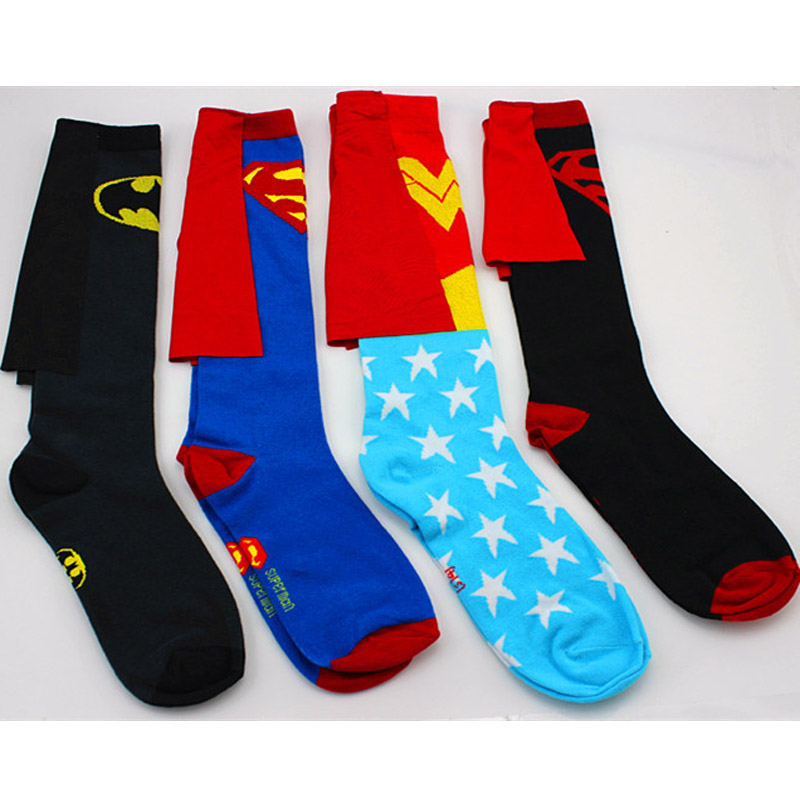 DC Superman Batman The Flash Wonder Woman knee high long Socks summer style cotton weed costume socks party cosplay socks