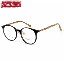 Chashma Brand Designer Retro Bamboo Wood Like Eyewear Fashion TR90 Frames Women Round Optical Glasses for Mens