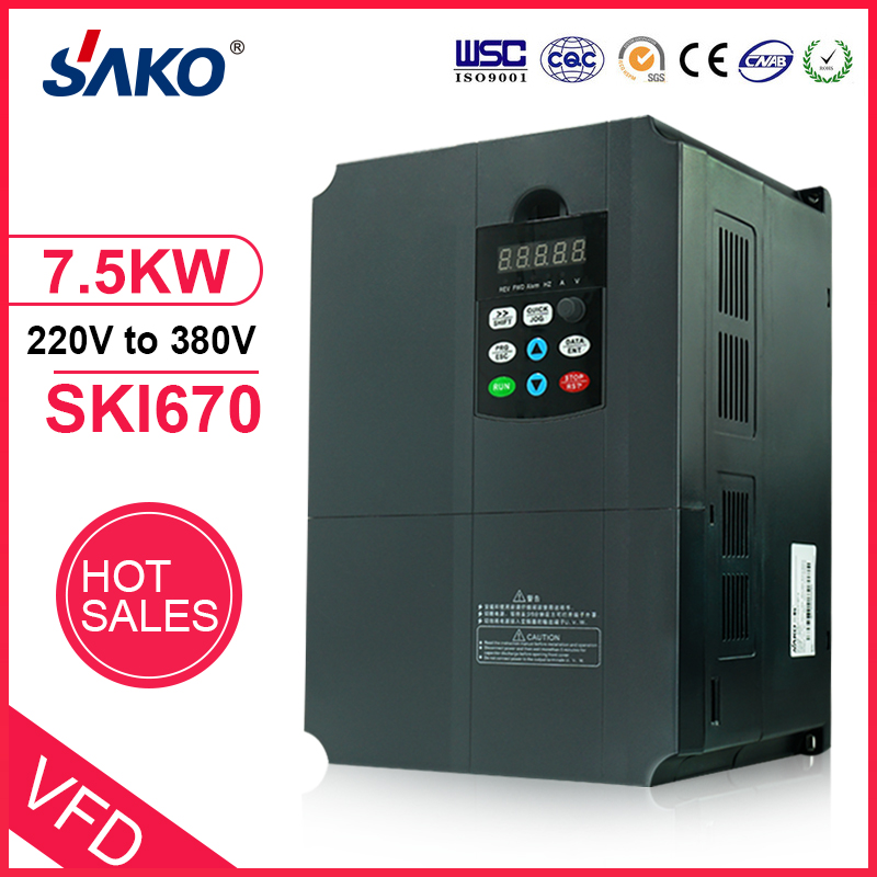 Sako 7 5KW VFD Input 220V 1ph to Output 380V 3ph High Performance AC to AC