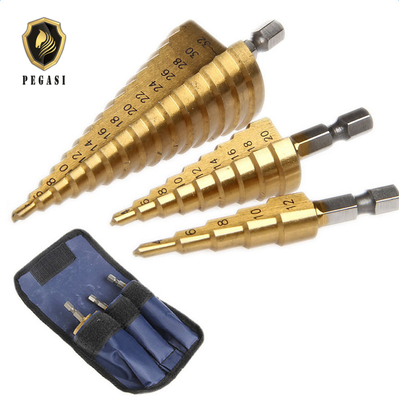 цена на PEGASI 3pc Hss Step Cone Taper Drill Bit Set Metal Hole Cutter Metric 4-12/20/32mm 1/4 Titanium Coated Metal Hex Taper