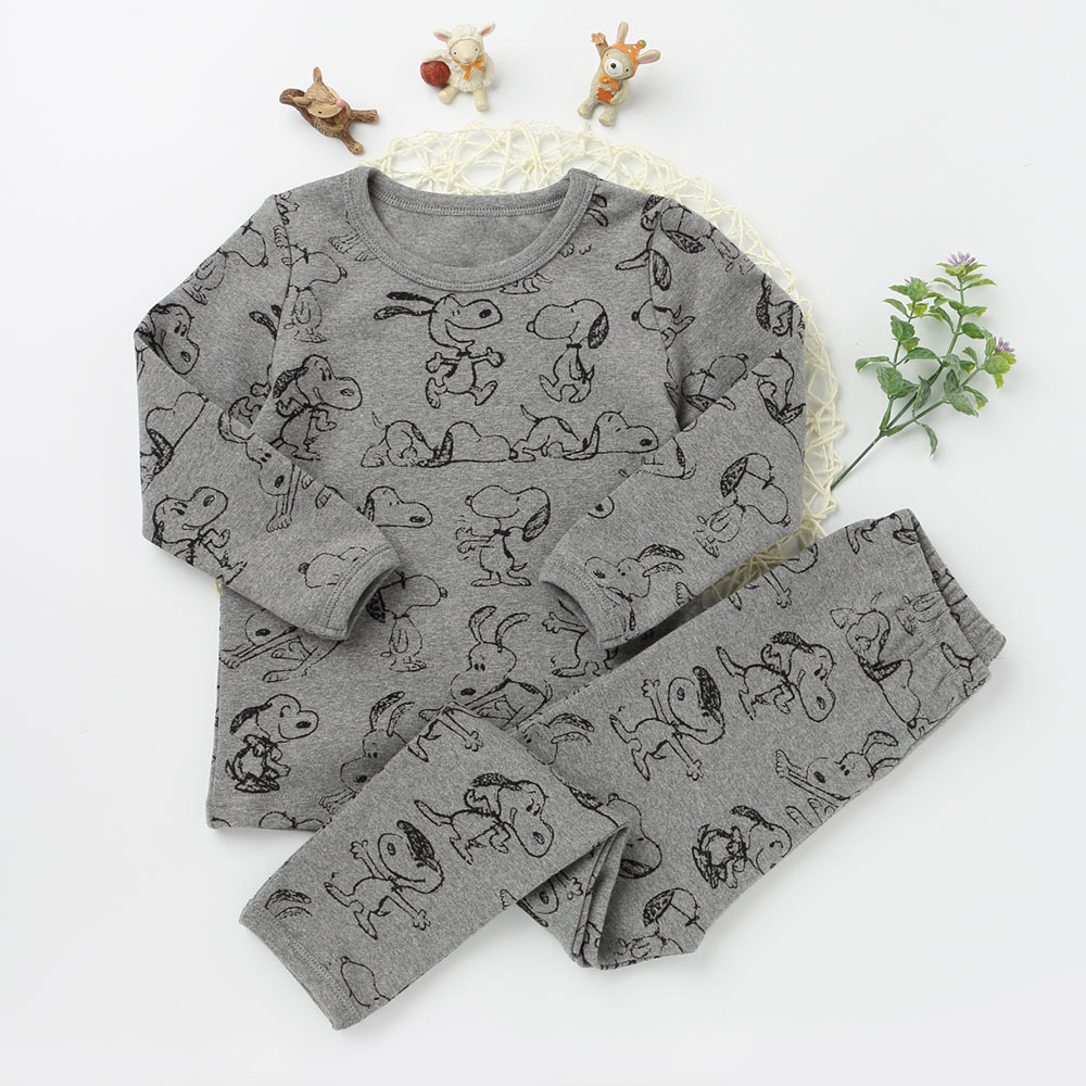 Fashion Children Cute Puppy Dog Pajama Suits Girl Boy Cotton Sleepwear Long Sleeve Top Tee Pants Character Pattern Clothing Sets cactus print tee and shorts pajama set