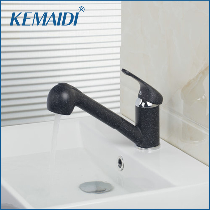 KEMAIDI Pull Out Swivel Painting Kitchen Single Handle Basin Sink Kitchen Torneira Cozinha Tap Mixer Faucet Deck Mounted new design pull out faucet black bronze swivel singe handle bathroom basin kitchen deck mounted sink mixer tap faucet