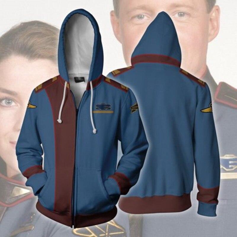 Movie & TV Babylon 5 Cosplay Costumes 3D Print Babylon 5 Earth Force Hoodies Sweatshirts Fashion Zipper Hooded Jacket Clothing