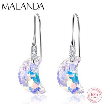 Cristales de Swarovski Luna colgante pendientes colgantes nueva moda plata esterlina Piercing gota pendientes para mujer joyería regalo