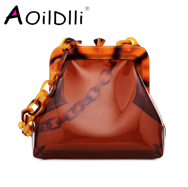 Japanese Original Design Transparent Bag Lady Vacation Acrylic Strap Chain Shoulder Bag Cute Female Small Tote Crossbody Bag Sac mary katrantzou