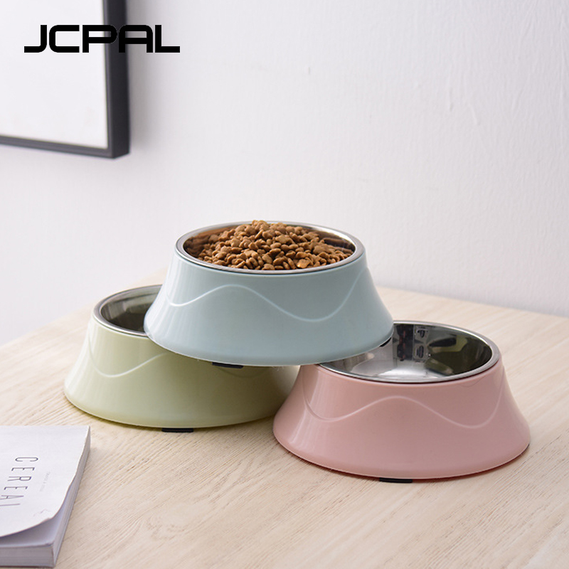 Jcpal High Quality 4 Color Anti-skid Heat-resisting Stainless Steel Cat Dog Bowl Puppy Cats Food Drink Water Feeder Pets Supplie