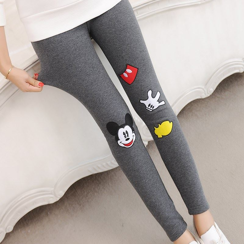 Spring New high waist women leggings Harajuku kawaii cartoon Mickey Mouse pants wear elastic large size women feet pants 2
