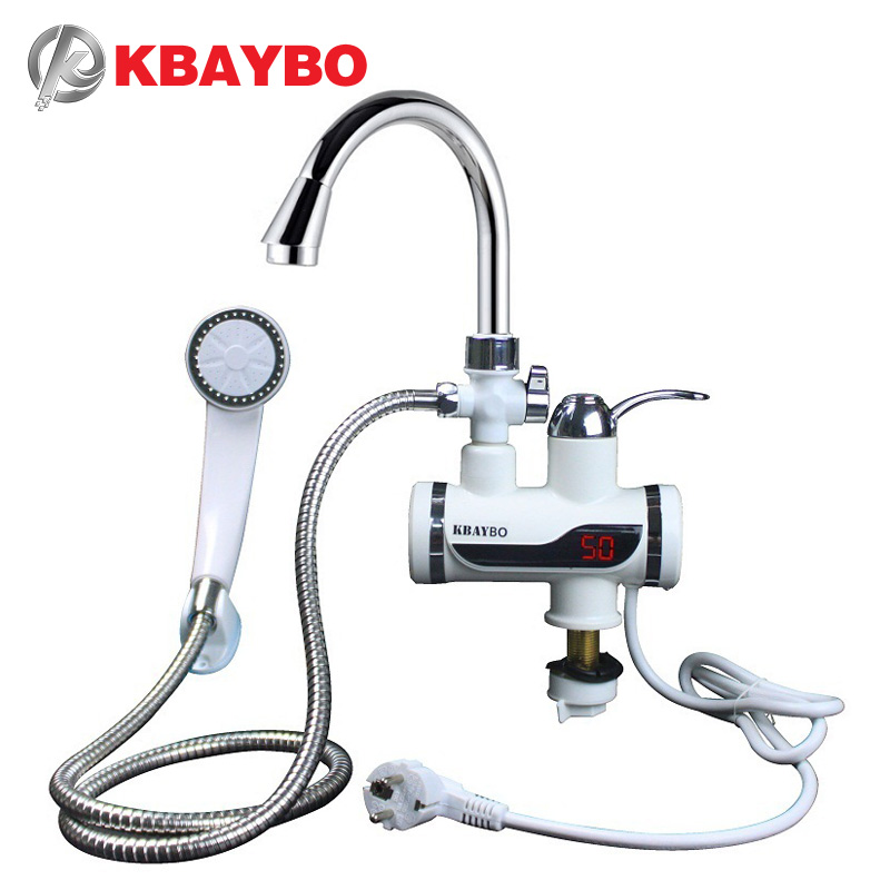 3000W Water Heater Bathroom / Kitchen instant electric water heater tap LCD temperature display Tankless faucet A-088 ...