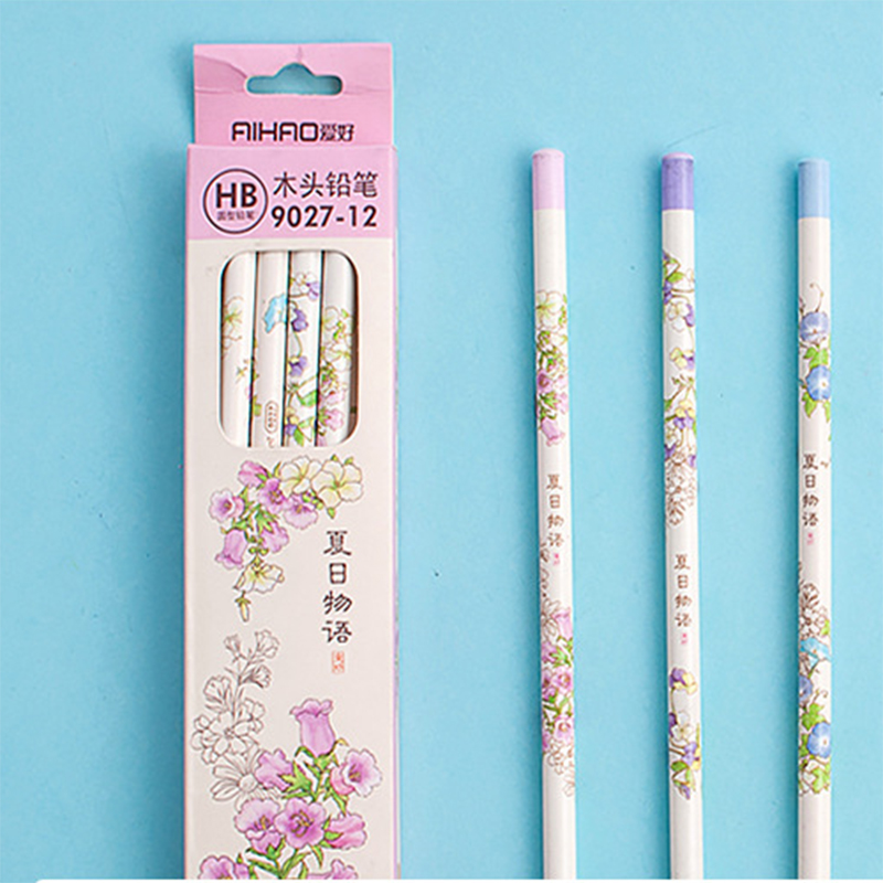 12pcs HB Round Pencil Drum Angle Pencil Children and Pupil Wood Pencil School and Office Drawing and Writing Stationary