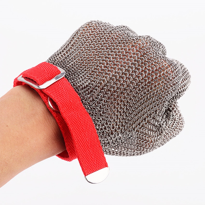 304L Stainless Steel Ring Gloves Red Brushed Mesh Cut Resistant Size M Butcher Glove