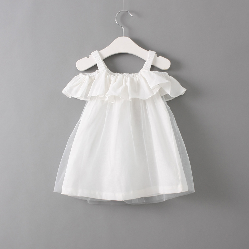 New Baby Girls sleeveless summer slip dress with ruffles Child girl white pink yellow princess party dress for 2-7 years chicco бутылочка chicco natural feeling с 4 мес 250 мл
