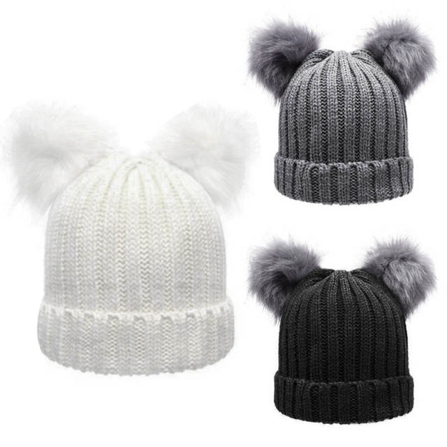 421fcc6fd Women Fashion Winter Chunky Knit Double Fur Pom Pom Beanie Faux Fur Hat  Women Wool Snow Beanie Bobble Cap Pompom Beanies Gorros