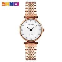 SKMEI Fashion Quartz Watches Women Luxury Rhinestones Shell Dial 30M Waterproof Rose Gold Silver Ladies Wristwatches