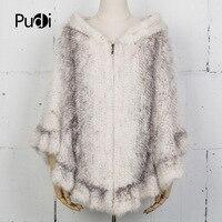 Pudi CK715 The new fashion women poncho real mink fur knitted pashmina shawl wrap poncho robes