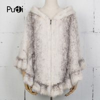 Pudi CK715 The new fashion women poncho real mink fur knitted pashmina shawl wrap poncho robes