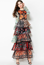2016 Muslim clothing Islamic long dress print women spring dress long sleeve slim brand design long party dress