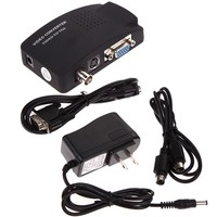 TV BNC S Video VGA Input To VGA Output PC Converter Adapter UK Plug For CCTV