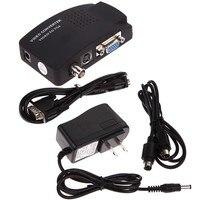 TV BNC S Video VGA Input To VGA Output PC Converter Adapter UK Plug For CCTV