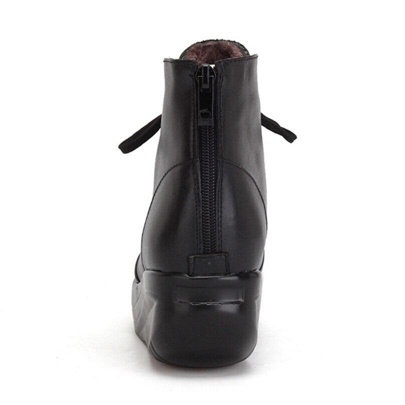 À Cuir Grande forme Zipper D'hiver Lacets Coins Plate Bottes Chaud Courte Noir Femmes Balançoire Taille Lin Chaussures Black En Roi Véritable SwAqXX