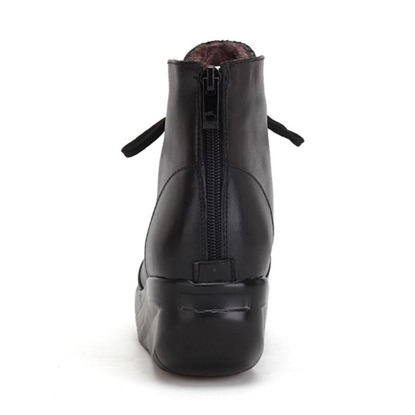 Bottes Cuir En D'hiver Courtes Roi Chaussures Lin Véritable Taille Balançoire Grande Noir À forme Chaud Coins Bottines Plate Zipper Black Lacets Femmes 1lFJTKc