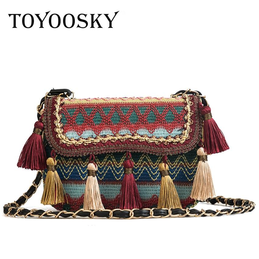 TOYOOSKY National Embroidery Women Crossbody Bags Vintage Tassel Shoulder Messenger Bag Ethnic Knitting Women Cltuch Handbags стоимость