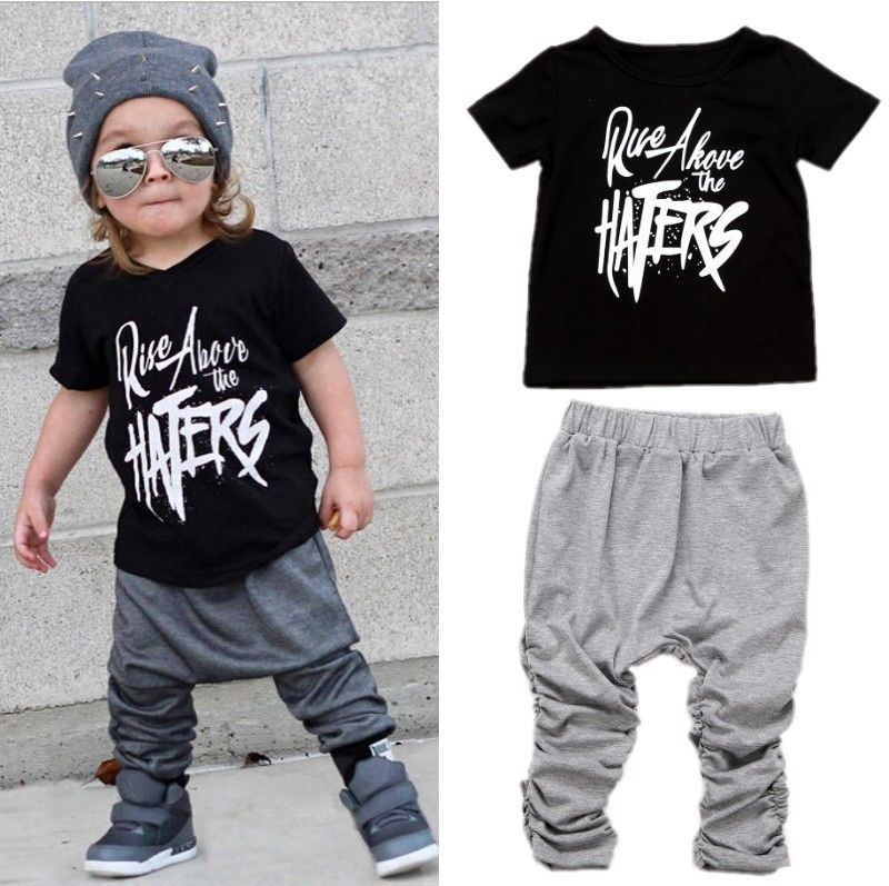 2PCS Set Casual Toddler Kids Boys Clothes Summer Black Letter Cotton T-shirt+Grey Long Pants Outfits Set Baby Clothes 1-6T