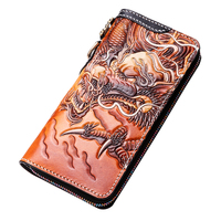 Genuine Leather Wallets Carving Chinese Dragon Brave Troops Purses Men Long Clutch Vegetable Tanned Leather Wallet Card Holder
