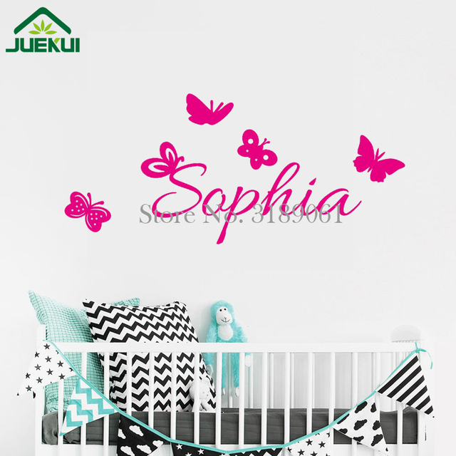 butterfly wall decal custom name baby bedroom decoration home decor