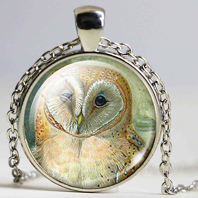 Owl Glass Dome Pendant necklace Owl Jewelry Nature necklace Owl Pendant Childrens Love Gift