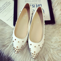 2016Spring leather studded women flats shoes,pointed toe slipon rivets sandals,leather espadrilles Ballerinas casual shoes women
