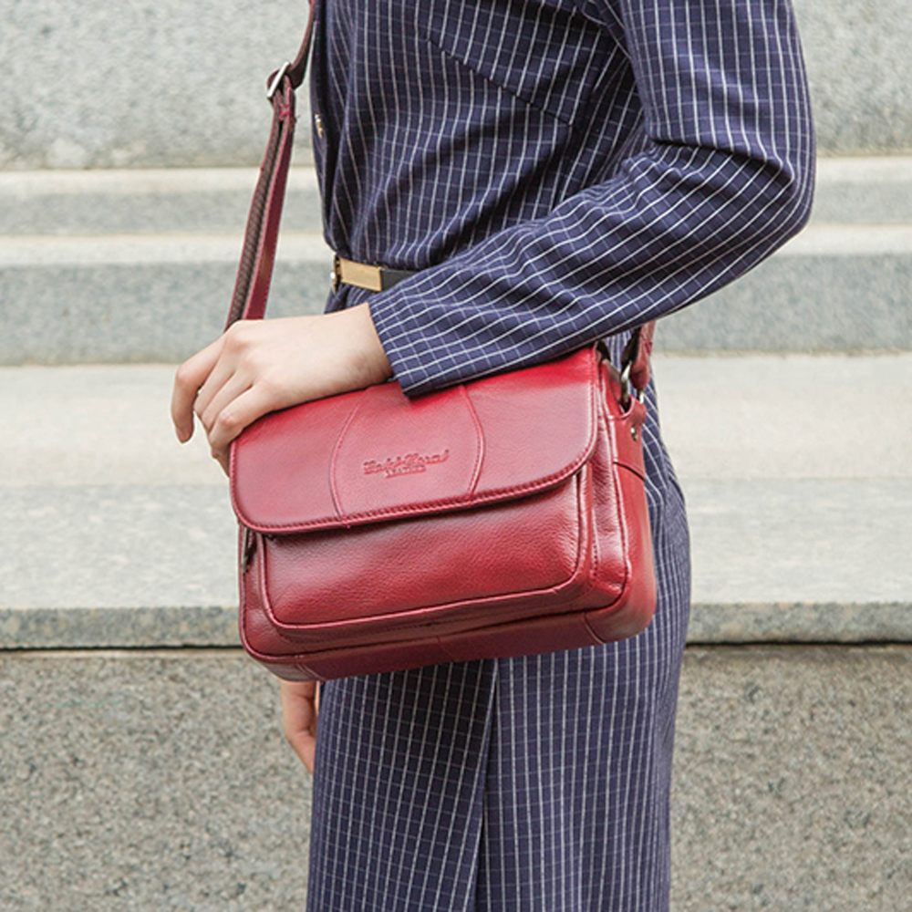 GOLD CORAL Fashion Genuine Leather Female Crossbody Bags For Women Luxury Handbag Shoulder Messenger Bag Ladies Shopping Purse